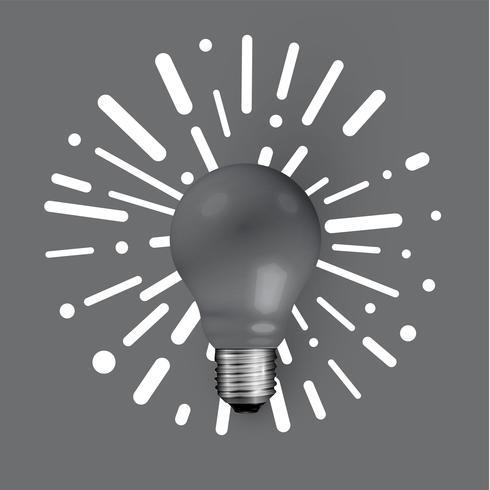 Lampadina opaca realistica con sfondo astratto, illustrazione vettoriale