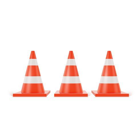 Coni di traffico 3d con strisce bianche e arancione su sfondo bianco vettore