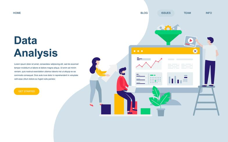Modello di progettazione di pagina web piatto moderno di auditing, analisi dei dati vettore