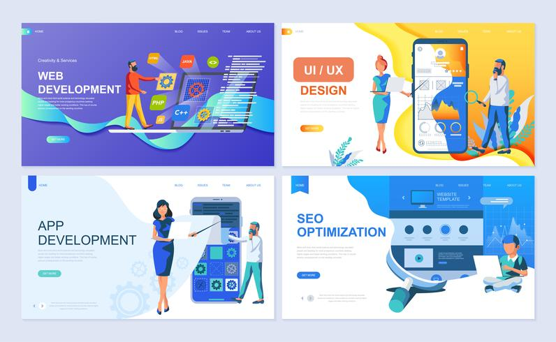 Set di modello di pagina di destinazione per sviluppo Web e app, UI / UX Design, SEO vettore