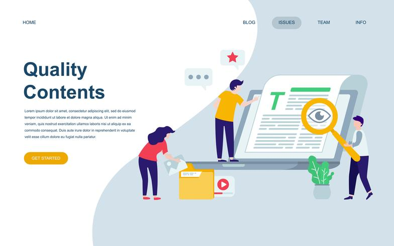 Modello di progettazione di pagina Web piatto moderno di contenuti di qualità vettore