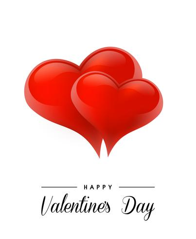San Valentino sfondo con cuori realistici. Illustrazione vettoriale Banner di amore carino o biglietto di auguri