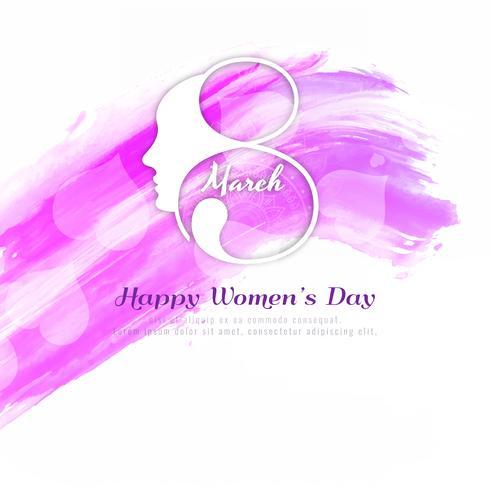 Progettazione rosa astratta del fondo dell'acquerello di giorno delle donne felici vettore