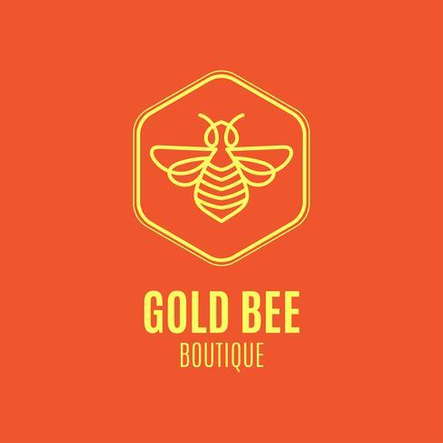 Logo con insetto. Badge Bee per l'identità aziendale vettore