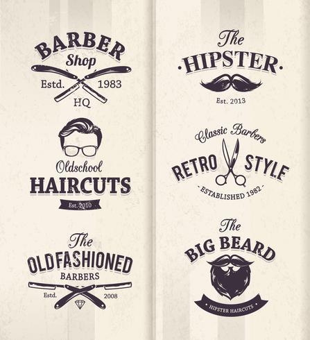 Emblemi del negozio di barbiere vettore