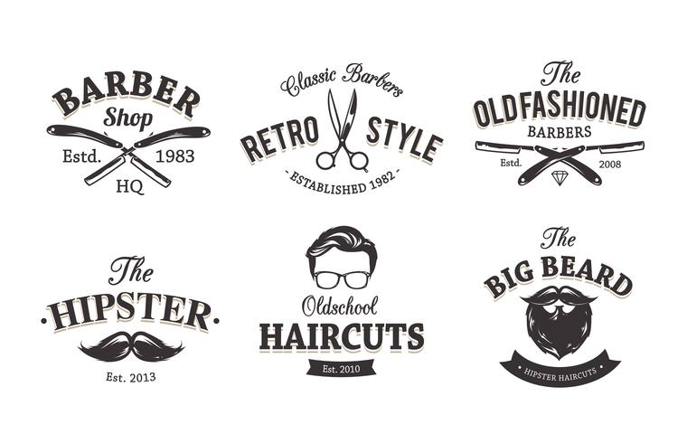 Retro emblemi del barbiere vettore