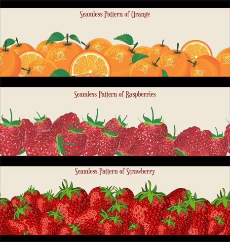 Seamless Pattern of Raspberries Collezione di fragole e arance vettore