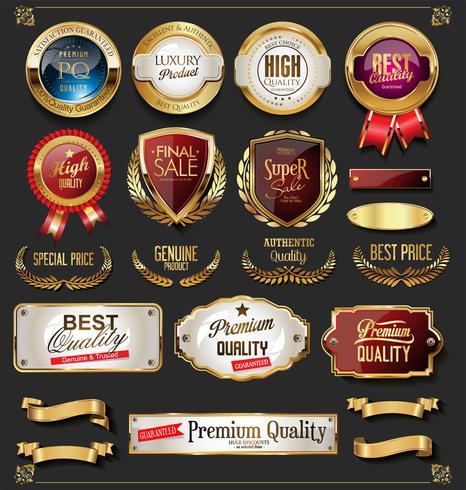 distintivi ed etichette d'oro di alta qualità vettore