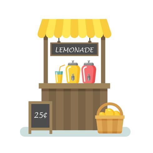 Illustrazione piatta stand limonata vettore