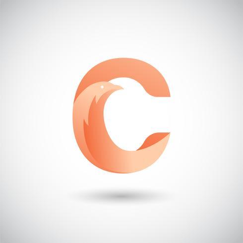 Lettera C con colomba Logo Concept vettore