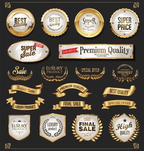 Collezione di elementi di design in oro e nero di lusso vettore