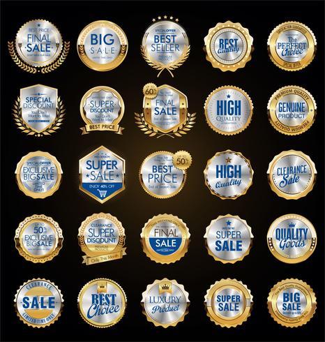 Retro raccolta dorata dell'illustrazione di vettore del distintivo