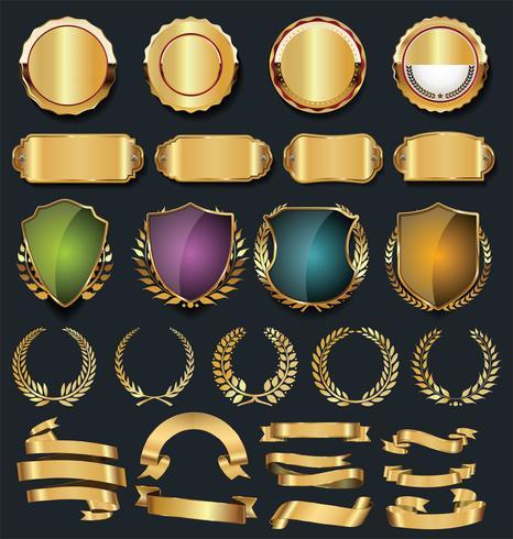 Collezione di elementi di design in oro e argento di lusso vettore