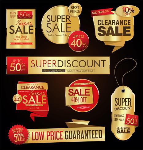Le etichette di vendita di stile dell'annata progettano la raccolta di vettore