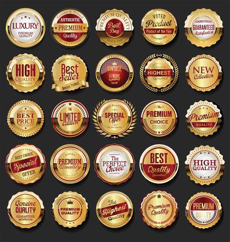 Collezione di cornici e nastri d'oro distintivi retrò etichette vettore