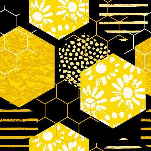 Motivo geometrico senza soluzione di continuità con nido d'ape. Trame disegnate a mano alla moda. vettore