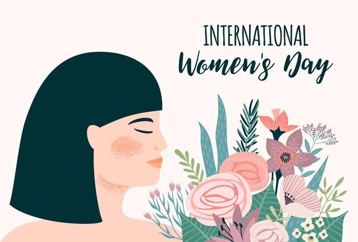 Giornata internazionale della donna. Modello di vettore con donna asiatica e fiori