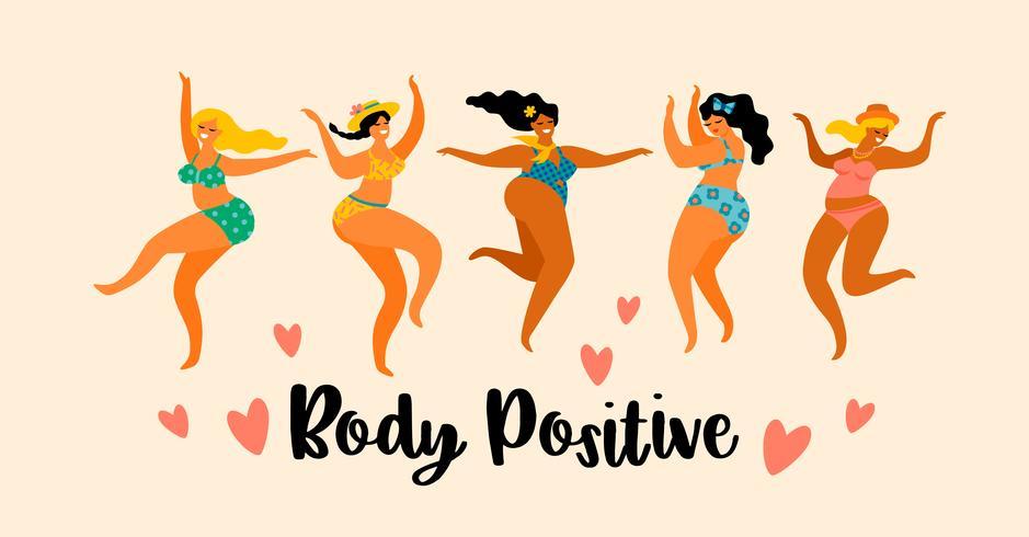 Corpo positivo. Le ragazze più grandi felici stanno ballando. vettore