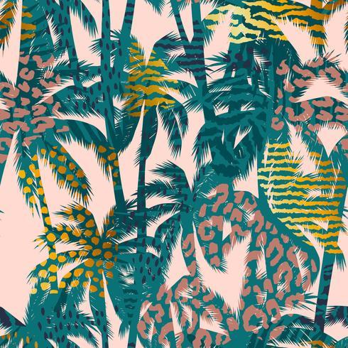 Modello esotico senza cuciture alla moda con palme, stampe animalier e texture disegnate a mano. vettore