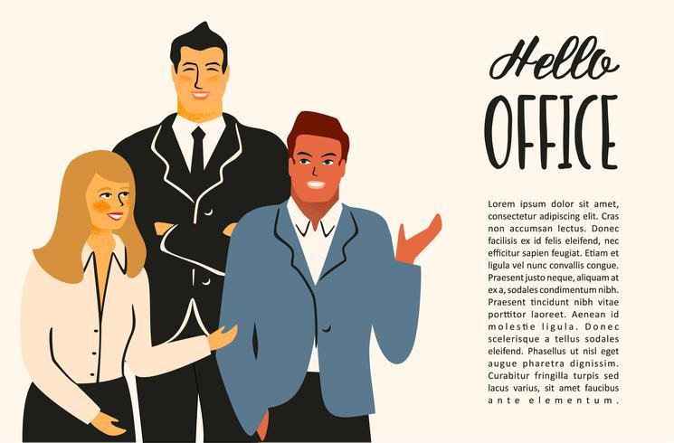 Illustrazione di Vectior della gente dell'ufficio. Impiegati, uomini d'affari, dirigenti. vettore