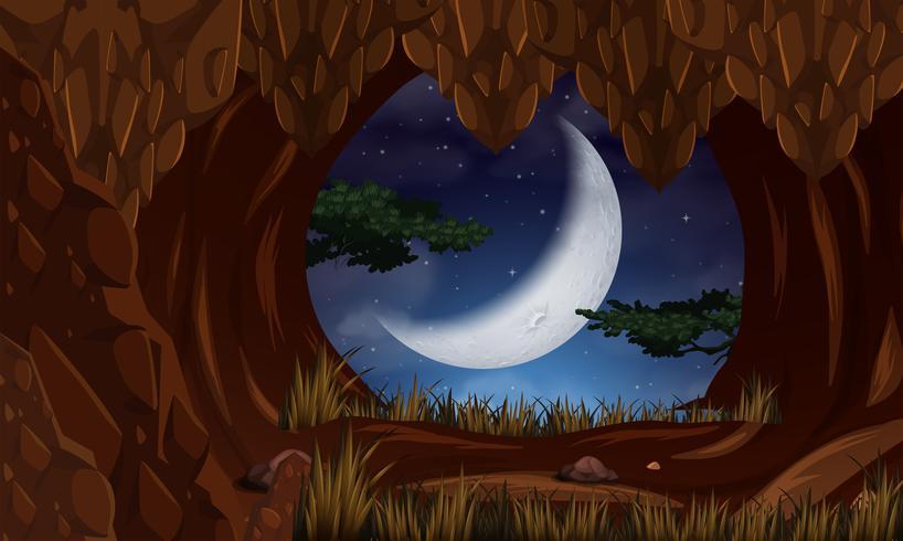 Grotta di notte con scena della luna vettore