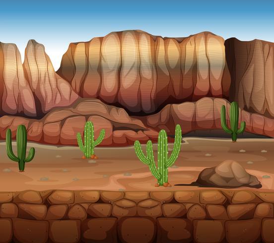 Scena con cactus e canyon vettore