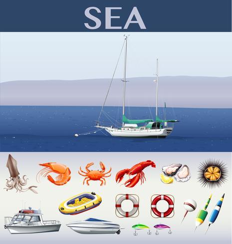 Scena dell'oceano con navi e animali marini vettore