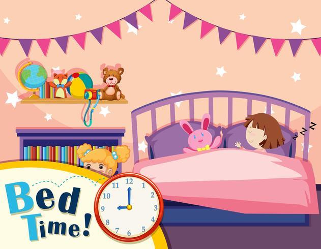 Una ragazza che dorme nella camera da letto vettore