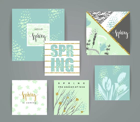 Set di carte primaverili creativi artistici. vettore