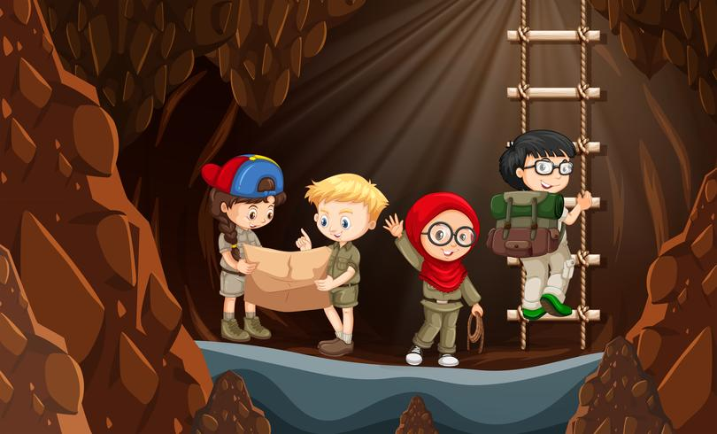 Scout che esplorano la grotta vettore