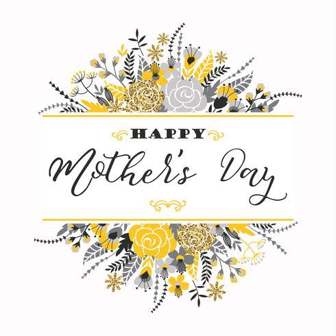Happy Mothers Day lettering cartolina d'auguri con fiori. vettore