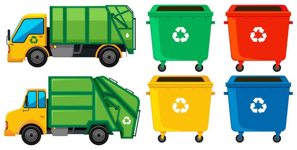 Camion della spazzatura e lattine in quattro colori vettore