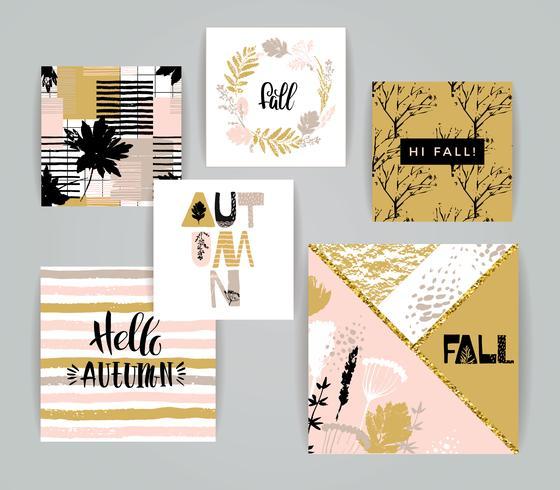 Set di carte autunnali creativi artistici. vettore