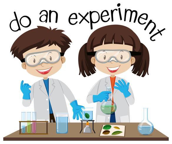 Due bambini che fanno esperimento in laboratorio di scienze vettore