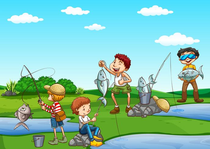Gruppo di ragazzi che pescano vettore