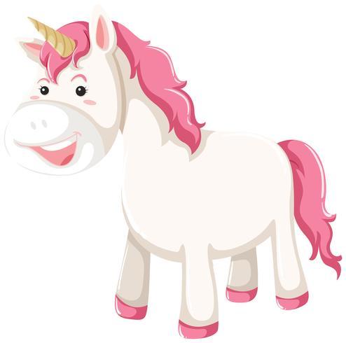 Un personaggio di unicorno su sfondo bianco vettore