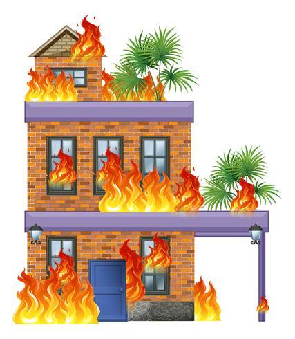 Casa moderna in fiamme vettore
