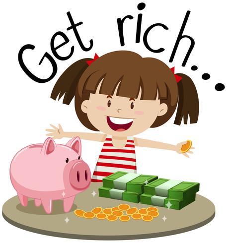 Frase inglese per diventare ricco con ragazza e soldi sul tavolo vettore