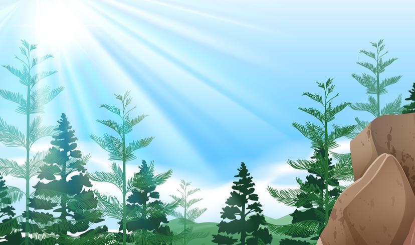 Scena di sfondo con alberi sulla montagna vettore