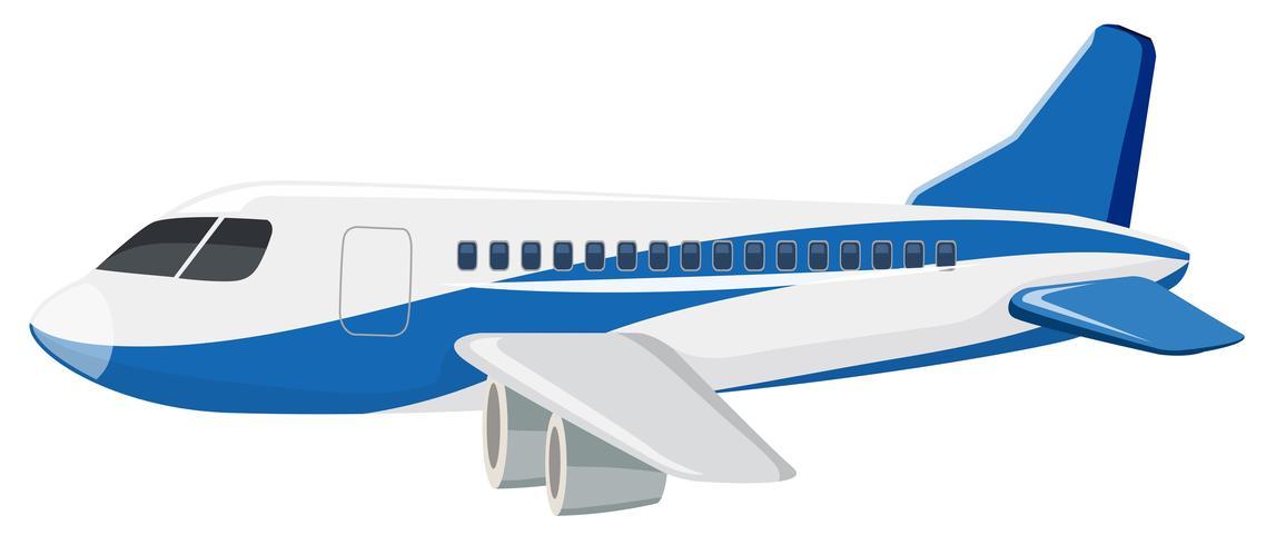 Un aereo commerciale su sfondo bianco vettore