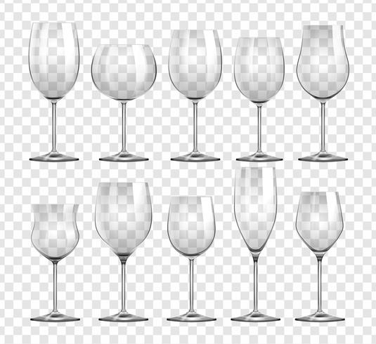 Diversi tipi di bicchieri da vino vettore
