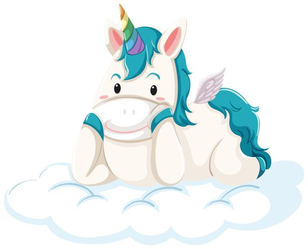 Un unicorno sdraiato sulla nuvola vettore