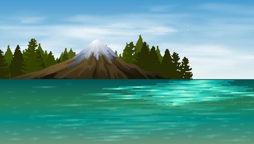Scena di sfondo con lago e montagna vettore