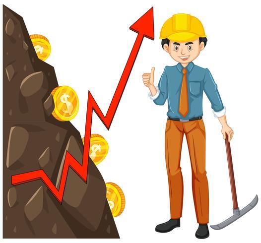 Lavoratore con Coin Mining vettore