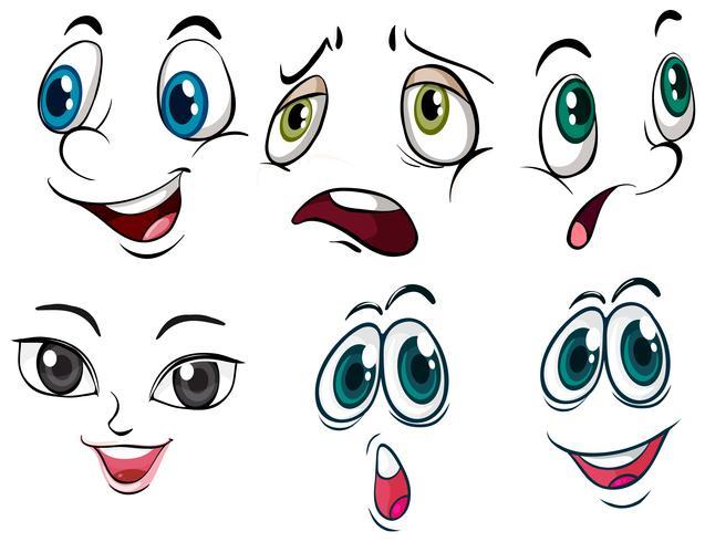 Diverse espressioni facciali vettore