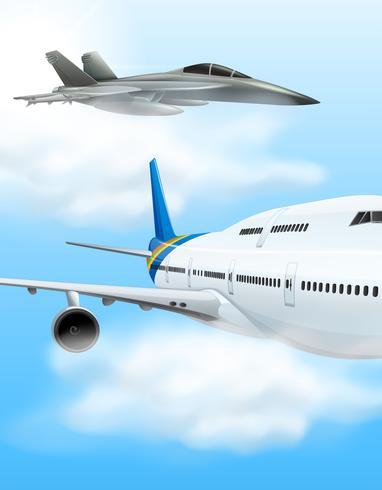 Aereo commerciale e aereo da caccia vettore