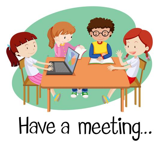 Persone che hanno una riunione su sfondo bianco vettore