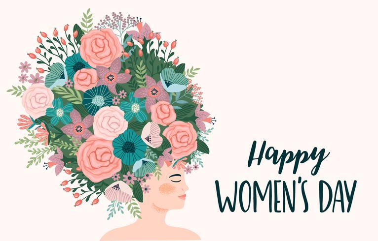 Giornata internazionale della donna. Modello vettoriale con donna carina
