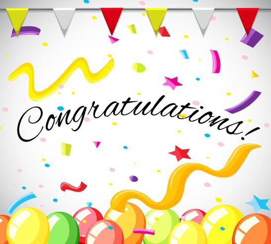 Modello di scheda di congratulazione con palloncini colorati vettore