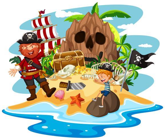 Pirata e ragazzino sull'isola del tesoro vettore